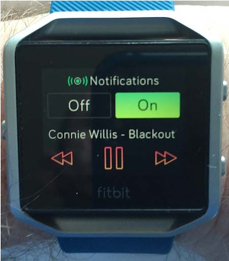 I often listen to books on my phone, and find the ability to control my Audible app from my wrist to be really, really useful. This is the Fitbit Blaze. You access this audio control screen by pressing the button on the top right twice.