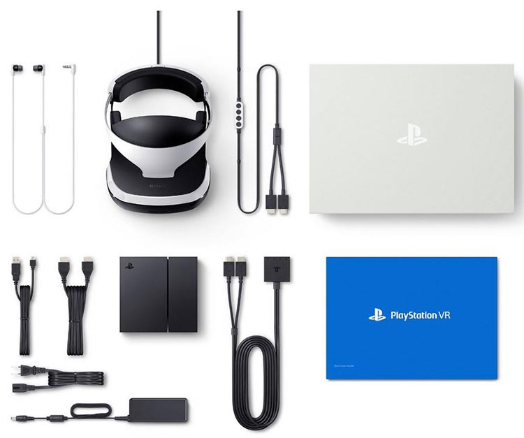 The Sony PlayStation VR comes packaged with all the cords and cables you need, plus a demo disk with a whole lot of VR experiences and videos