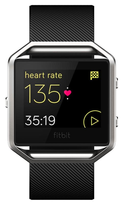 FITBIT blaze in sport tracker mode, ready to record an activity, using the GPS chip of your smart phone
