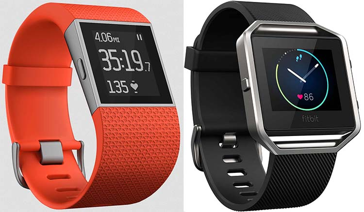 Fitbit Blaze vs Surge - showdown of the Super Fitbits! The Surge is on the left, with an orange band. You can also choose black or blue. The Blaze is shown with a black strap. There are also many other options for the Blaze.