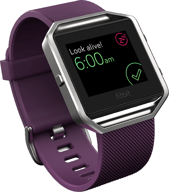 with the Fitbit Blaze you can change the strap, so there are a lot more options of how your watch looks. Here is the Fitbit Blaze telling you it's time to get up!