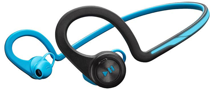 The Plantronics Backbeat Fit headphones come in blue, green, and red.