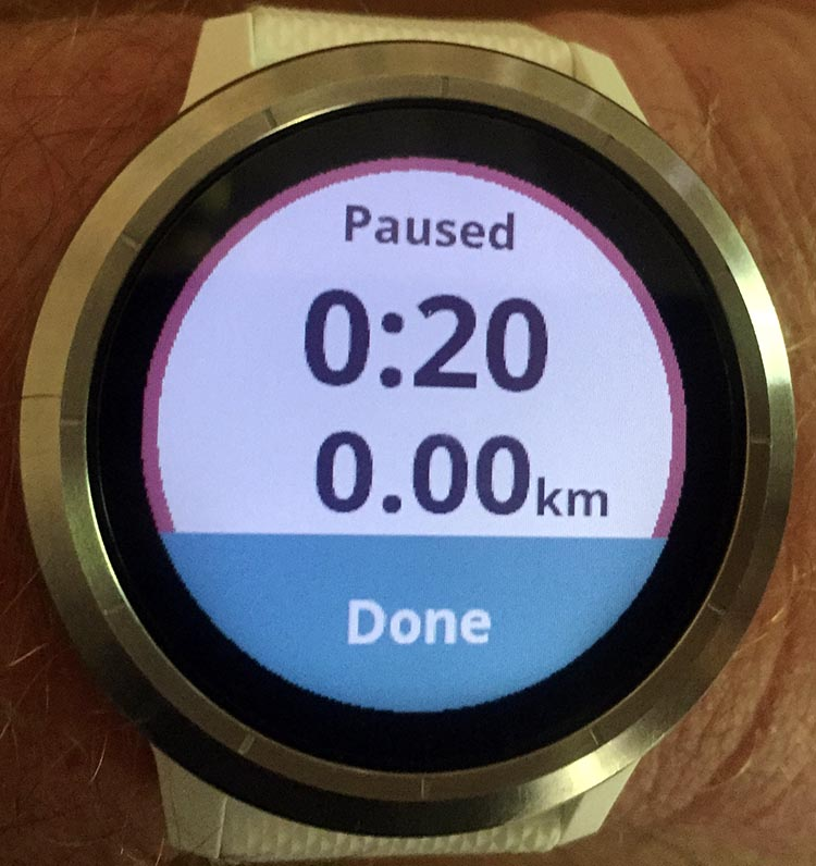 How to Use Your Garmin Vivoactive 3 to record an activity - As soon as you press the button, the display will tell you that the recording has paused.